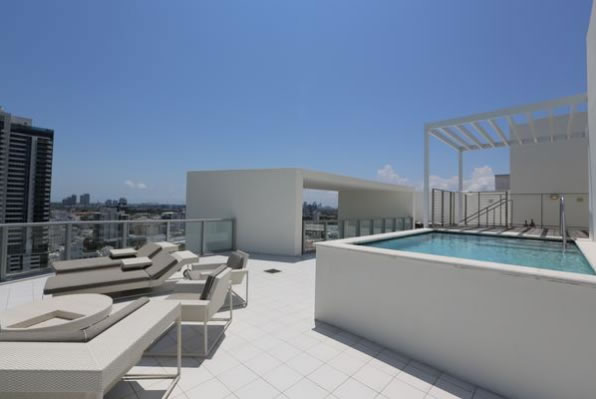 Pool and lounges on the terrace at the W South Beach penthouse