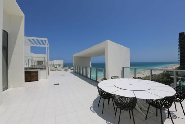 Terrace with ocean view at the W South Beach penthouse